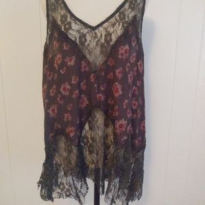 Free People Gray Pink Floral Lace Trim Tank Size M